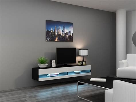 Hanging Tv Cabinet by Wall Mounted Tv Stand Black White High Gloss Ebay