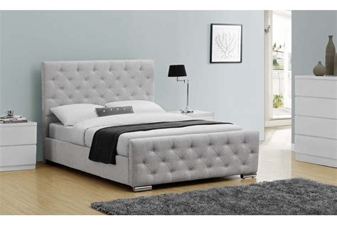 Grey King Size Bed With Mattress Buckingham Fabric Bed Mink Grey Fabric Gold Or Silver