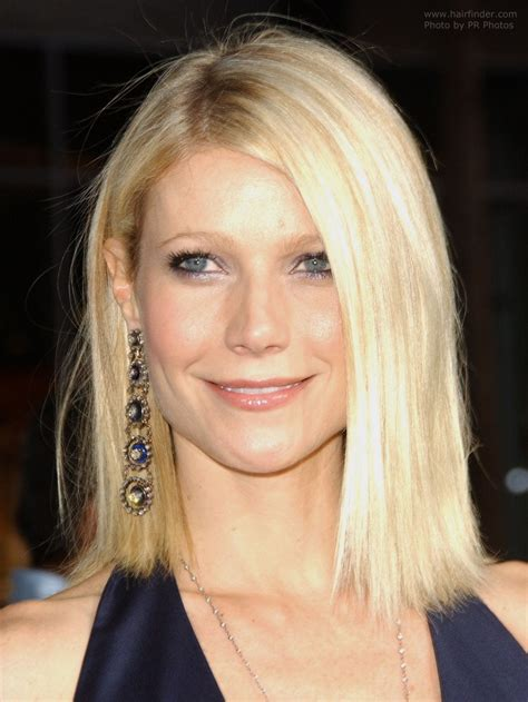 medium length hair behind ears gwyneth paltrow straight shoulder line haircut with hair