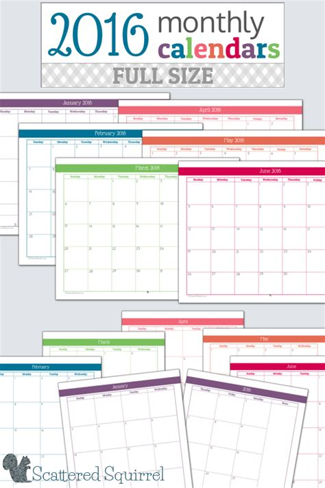 printable planner pages 2016 16 free 2016 printable calendar