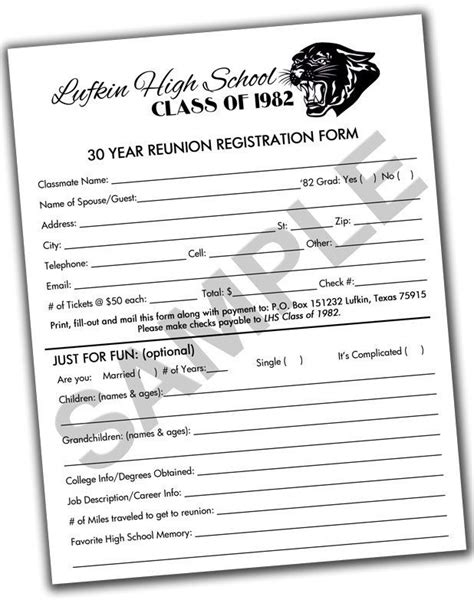 Reunion Invitation Package High School College Family You Print Or Email Reunion Class Reunion Registration Form Template