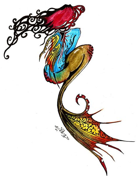 tribal mermaid tattoo colorful tribal mermaid design by neko