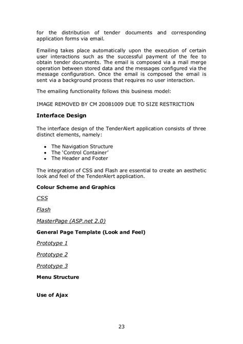 Tender Specification Template by User Requirement Specification For Tender Alert Website