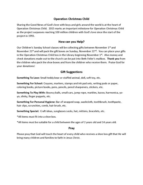 Operation Christmas Child 2015 First Presbyterian Church Of Strasburg Operation Child Letter Template