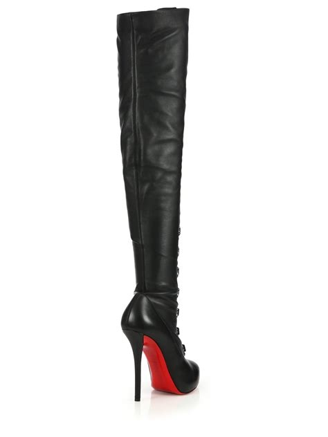 christian louboutin leather the knee corset boots in