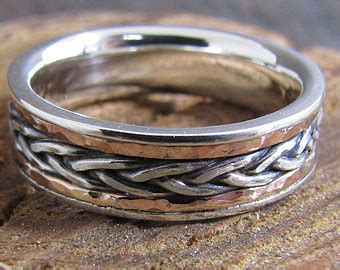 braided metal ring gold silver copper mixed metal ring mens braided wide argentium sterling silver band ring