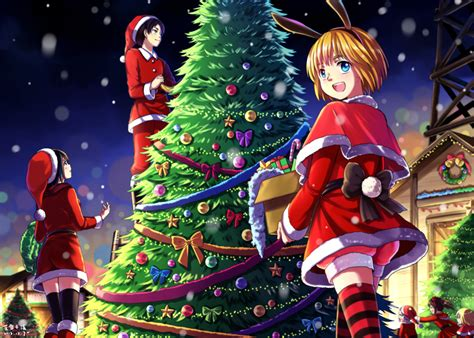 merry christmas happy holidays anime art santa