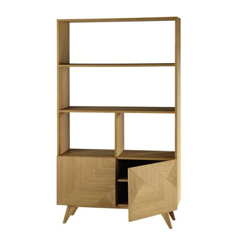 Origami Bookcase - origami retro style wooden bookcase at maisons du monde