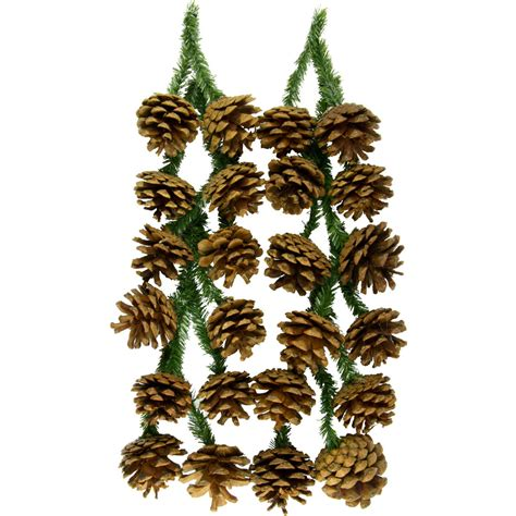 6 quot green tinsel ties w natural pinecones set of 12