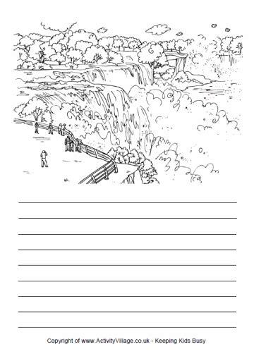 coloring page of niagara falls story paper usa niagara falls