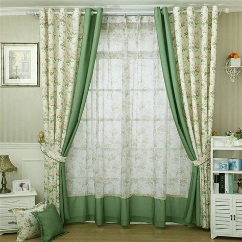 Small Kitchen Curtains Decor Modern Style Small Floral Printed Curtain For Kitchen Blackout Green Curtains Window Drape