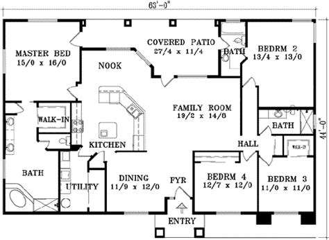 one story 4 bedroom house plans 2018 southwestern house plan 4 bedrooms 3 bath 2129 sq ft plan 41 763