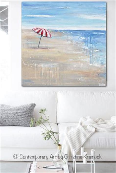 ocean beach red house painters original art abstract painting seascape red beach umbrella