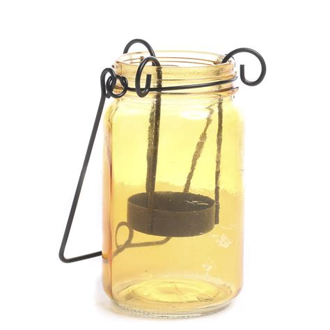 amber mason jar tea light candle holder candles and
