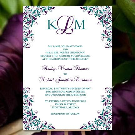 Rack Cards Purple And Teal Template by Kaitlyn Wedding Invitation Peacock Purple Teal Wedding