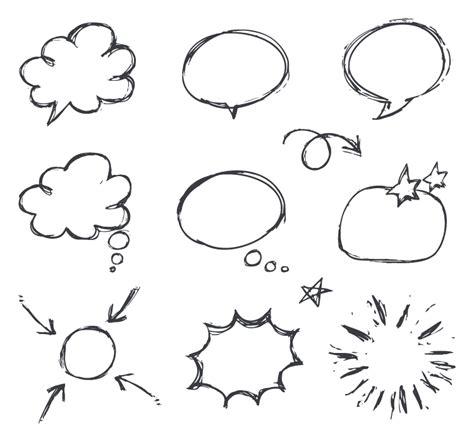 free doodle speech vector 강조효과 말풍선 스티커5 webagit