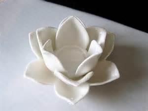 Lotus Flower Candle Holder - white ceramic lotus flower candle holder tea light holder
