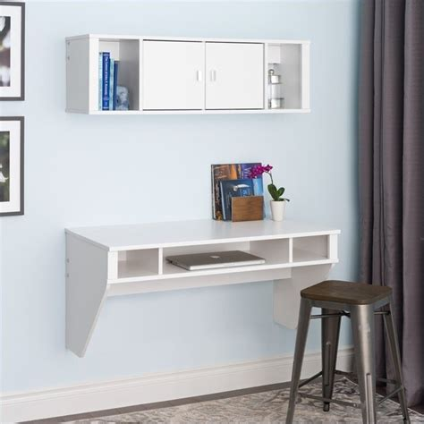 floating desk with hutch in fresh white finish wehw 0500