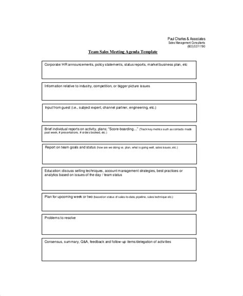 sales team meeting agenda template sales meeting agenda template 11 free word pdf