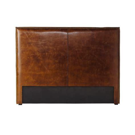 headboard leather distressed leather headboard in brown w 140cm andrew