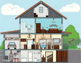 Drawing Of A House With Garage cutaway of house vector art getty images