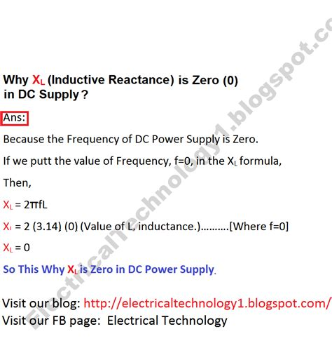 inductive reactance questions and answers why xl inductive reactance in dc supply is zero 0