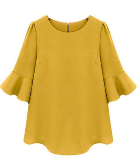 Sleeve Ruffle Chiffon Blouse yellow ruffle half sleeve chiffon blouse abaday