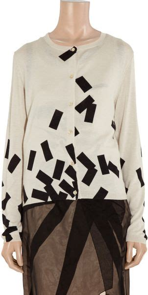 A10319 Veneta Sweater Jumbo Print bottega veneta brickprint and silkblend cardigan in black lyst