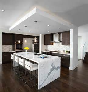 kitchen waterfall island modern kitchen vancouver