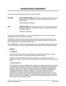 Warehouse Lease Agreement Template by Warehousing Agreement Template Sle Form Biztree
