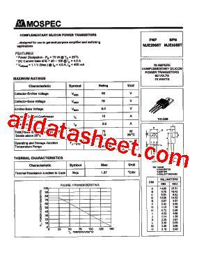 datasheet transistor on5252 pdf mje2955 datasheet pdf mospec semiconductor