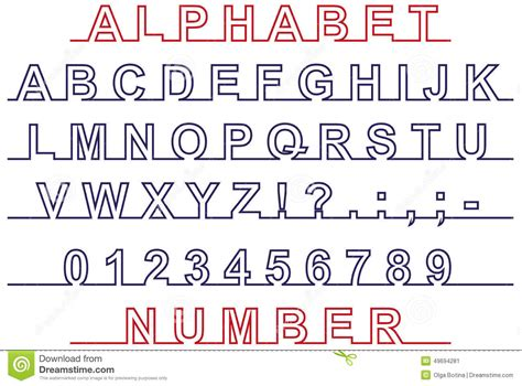 print lined font font and number on line stock vector image of print