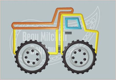 Mini Dump Truck Machine Embroidery by Dump Truck Big Tires Beau Mitchell Boutique Embroidery