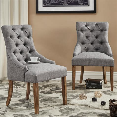 tufted dining chair grey homesullivan marjorie grey linen button tufted dining