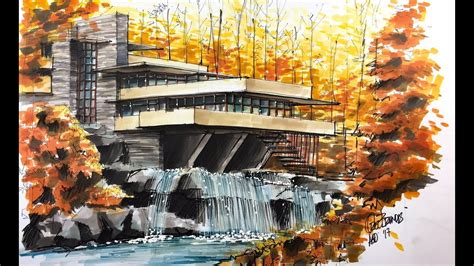 Lloyd Wright Architecture fallingwater house sketch tutorial youtube