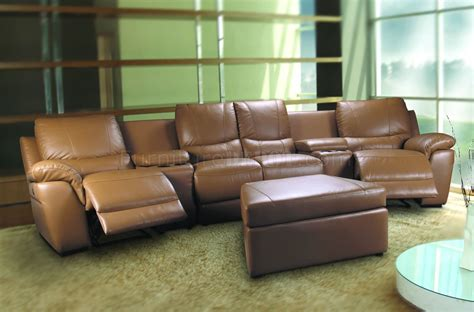 home theatre sectional beige leatherette home theater sectional w motorized recliners