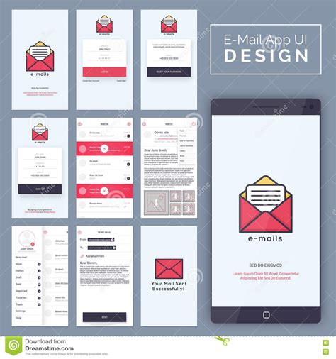 app design document template e mail mobile app ui ux and gui template layout stock