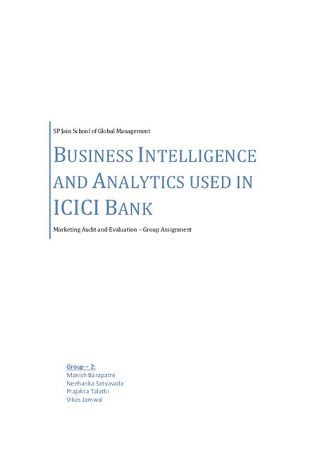 Sp Jain Global Mba Contact by Business Intelligence And Analytics For Icici Bank