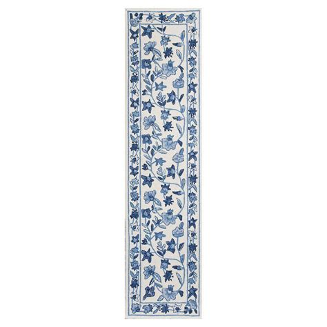 8 foot runner rug kas rugs wedgewood floral ivory blue 2 ft x 8 ft rug runner col17272x8ru the home depot