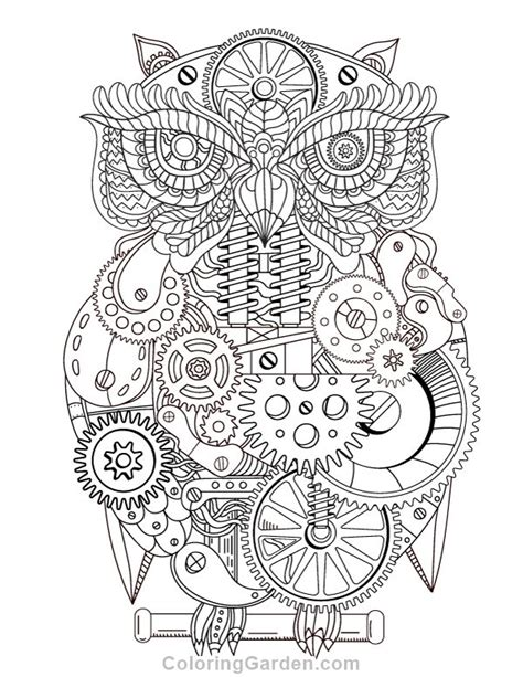 owl coloring pages pdf free printable steunk owl adult coloring page download