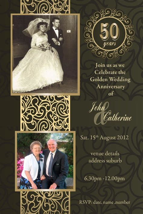 50th Wedding Anniversary Invitations Golden Marriage Golden Anniversary Invitation Templates