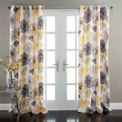 Lush Decor Curtains Leah Window Curtains Yellow Grey Set Walmart Com