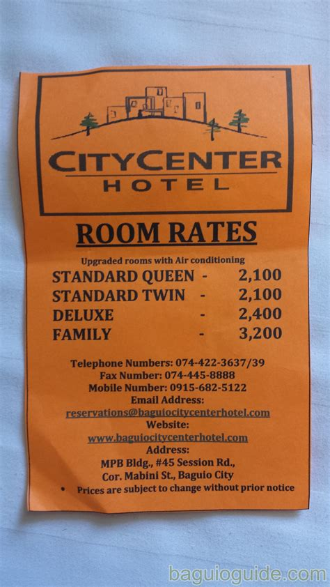 hotel room rates city center hotel baguio room rates