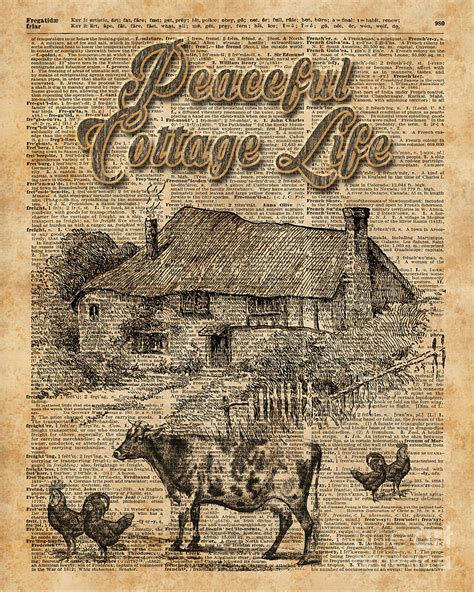 Cottage Dictionary Peaceful Cottage Vintage Dictionary Digital
