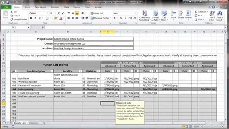 Excel 2010 Construction Punch List Overview Youtube Punch List Template Excel