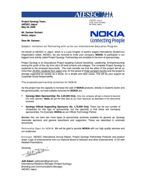 Cover Letter Finance Business Partner Invitation For Business Partnership For Mr Sameer From Nokia