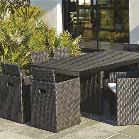 salon de jardin encastrable resine tressee noir  table  fauteuils leroy merlin
