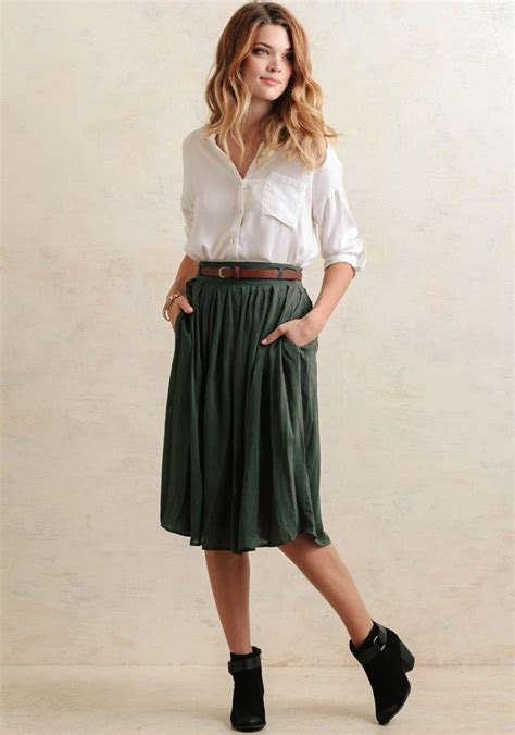 rustic  charming  sage hued midi skirt features