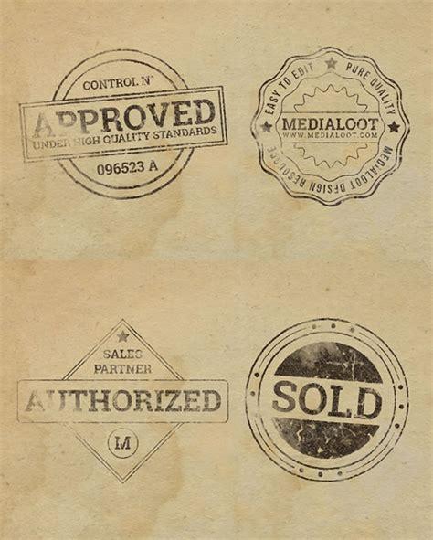 imagenes vintage de sellos badges estilo vintage con efecto sello de goma en psd