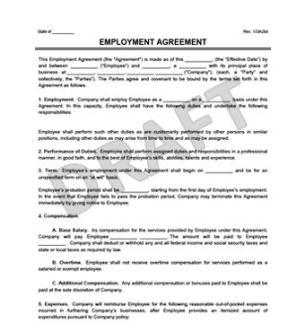 Create An Employment Contract In Minutes Legaltemplates Generic Employment Contract Template